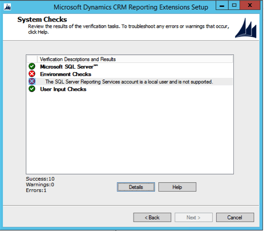 CRM 2015 Reporting Extension Setup Error The SQL Server