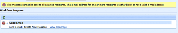 The e-mail address for one or more recipients is either blank or not a valid e-mail address