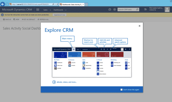 Microsoft CRM 2016 Home Page