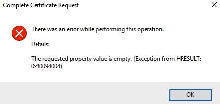 Exception for HRESULT 0x80094004