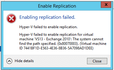 HYPER V REPLICATION FAILED