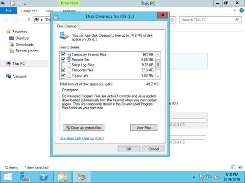 How Install Disk Cleanup Tools Windows 2012 or Windows 2016