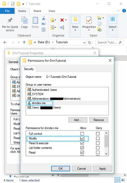 DnnInstall 4e FolderSecurity AddAppPool ModifyPermissions