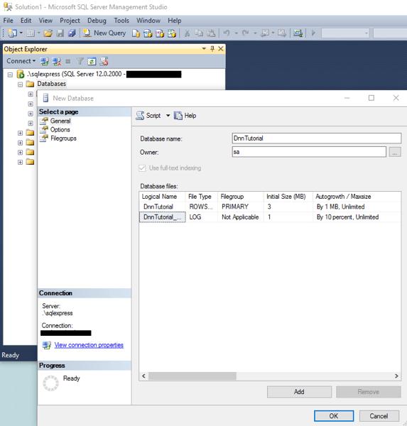 DnnInstall 5a ConfigureSql CreateDB