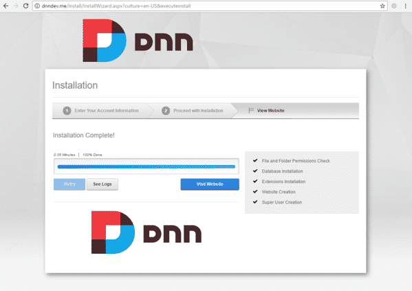 DnnInstall 6c WebsiteInstaller Success 1024x723