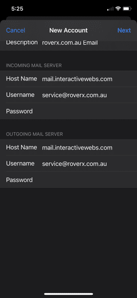 iMAP Smater Mail Setttings Page